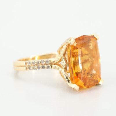 EFFY 14K Yellow Gold 9.46 CT Citrine and Diamond Ring