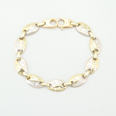 18K Yellow and White Gold 1.00 CTW Diamond Oval Bracelet