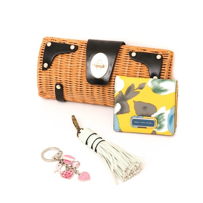 Kate Spade Clutch, Marc by Marc Jacobs Wallet, Coach Chain, and a Leather Tassel