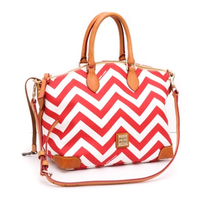 Dooney & Bourke Chevron Coated Canvas Convertible Bag Trimmed in Leather