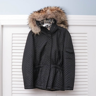 Burberry London Quilted Black Hooded Jacket with Raccoon Fur Trim
