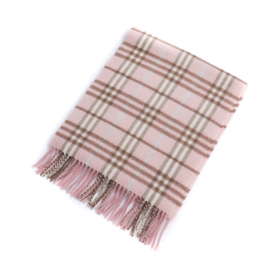 Burberry London Pink Check Cashmere Scarf with Fringe