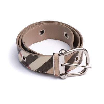 Burberry Check Coated Canvas and Leather Belt