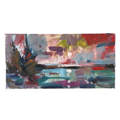"Jose Trujillo Oil Painting ""Winter Lake Side View"""