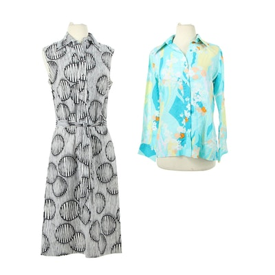 Lanvin New York Cotton Shirt Dress and Blouse, Vintage
