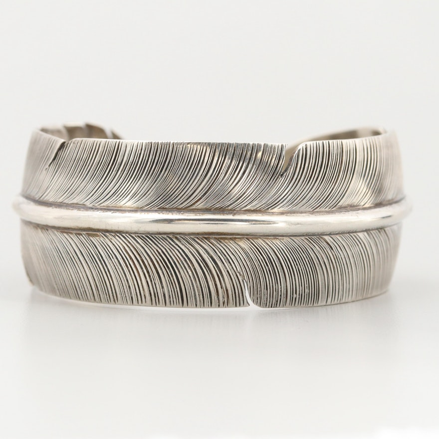 Delbert Vandever Navajo Diné Sterling Silver Feather Cuff Bracelet