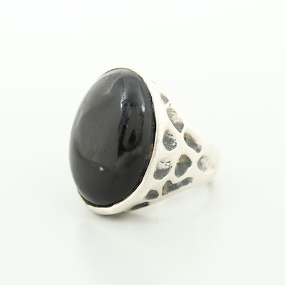 Mexican Sterling Silver Glass Cabochon Ring