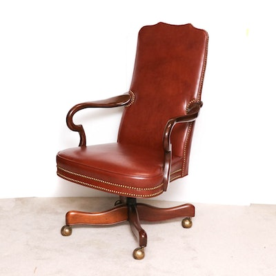 Wood Framed Leather Desk Chair, Vintage