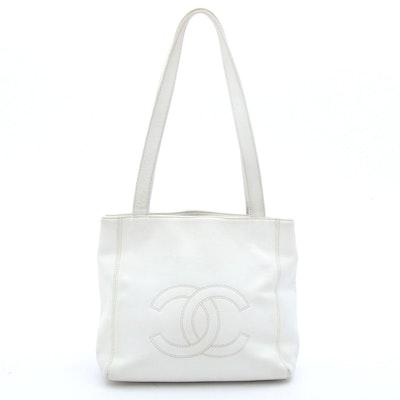 Chanel White Cavair Leather Shoulder Bag