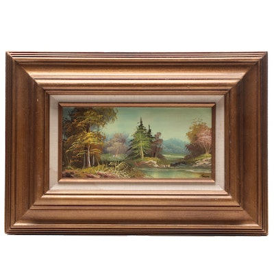 Oil Painting of Lakeside Landscape