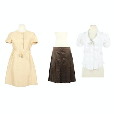 Prada Silk Blend Shirt Dress with Silk Block Pleat Skirt and Ruched Blouse
