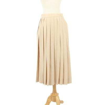 Hermès Beige Gabardine Wool Box Pleated Skirt, 1980s Vintage
