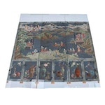 Chinese Hand-Painted Triptych Wall Mural