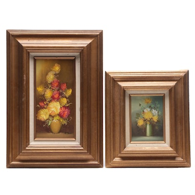 Mid to Late 20th Century Floral Still Life Oil Paintings