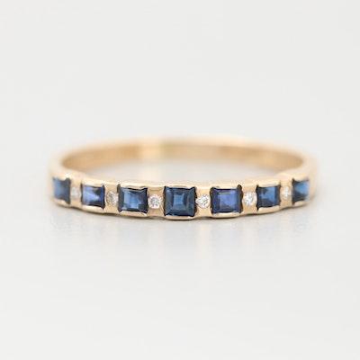 14K Yellow Gold Diamond and Blue Sapphire Band