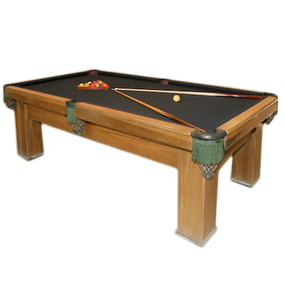 Wooden Billiards Table with Cues and Balls