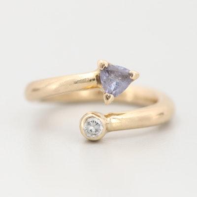 14K Yellow Gold Tanzanite and Diamond Bypass Ring