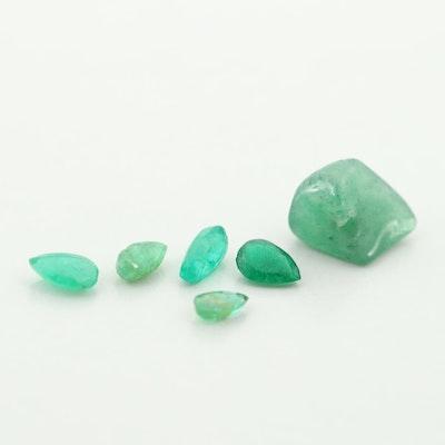 Loose 0.71 CTW Emerald and 1.58 CT Aventurine Gemstones