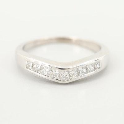 14K White Gold Diamond Contour Ring