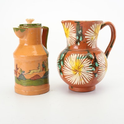 Hand-Painted Tlaquepaque Style Mexican Earthenware Pitchers