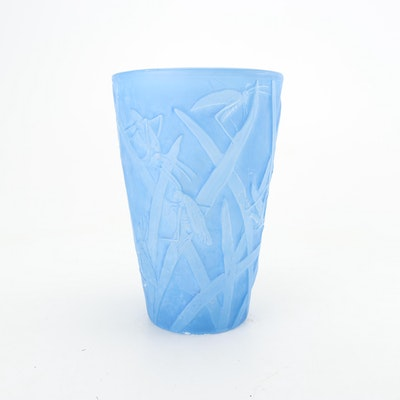Blue Frosted Glass Grasshopper Vase