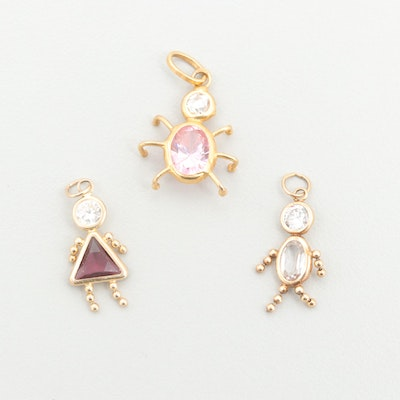 14K Yellow Gold Cubic Zirconia Baby Boy and Girl Charms