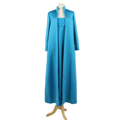 Mollie Parnis New York Blue Silk Sleeveless Evening Gown and Overcoat, 1950s