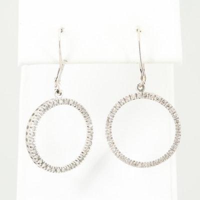 10K White Gold Diamond Circle Dangle Earrings