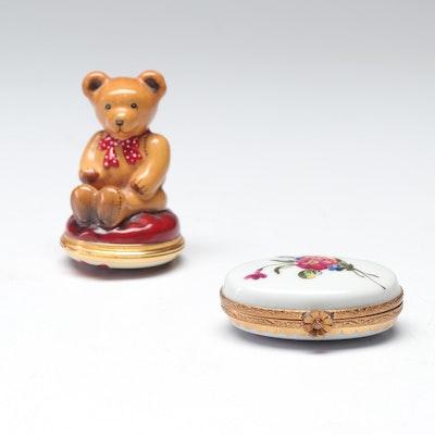 Trinket Boxes Including Halcyon Days and Royale Limoges Porcelain Floral Box