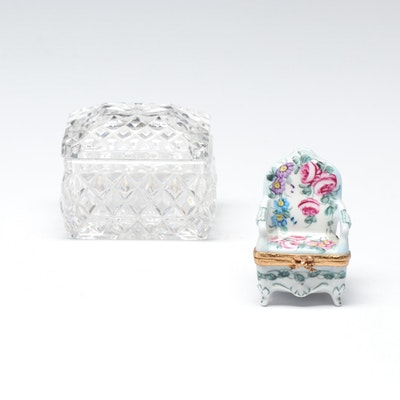 Pressed Glass and Limoges Porcelain Chair Trinket Boxes