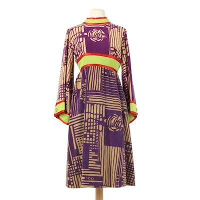 Ronald Amey New York Multicolor Cotton Blend Maxi Dress, 1970s Vintage