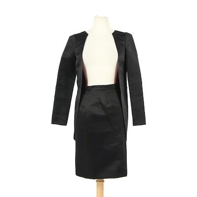 Chanel Sample Black Silk Skirt Suit