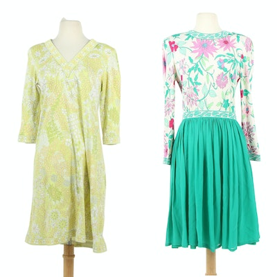 Averardo Bessi Floral Cotton Shift Dress and Silk Dress with Pleated Skirt