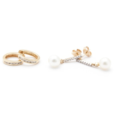 14K Yellow Gold Diamond and Pearl Earrings