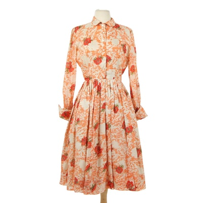 Floral Silk Blend Shirt Dress with Pleated Skirt, 1950s Vintage