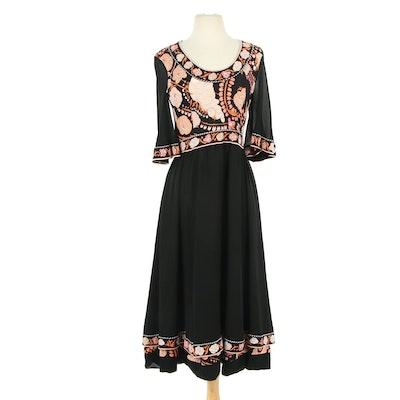 Averardo Bessi Silk Maxi Dress with Scooped Neckline, 1970s Vintage
