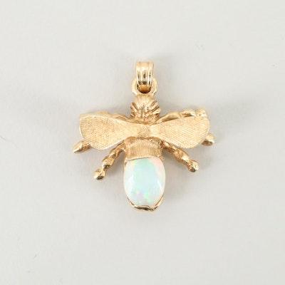 14K Yellow Gold Opal Bee Pendant