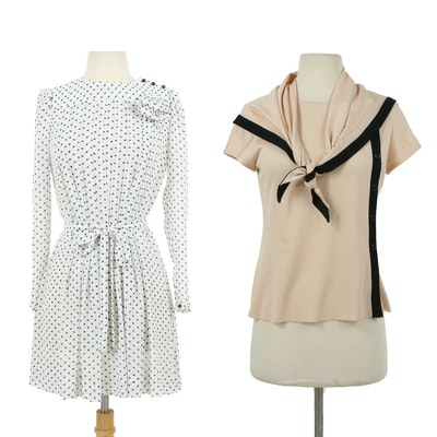 Albert Nipon Polkadot Dress and Blush Tie Scarf Blouse Trimmed in Black, Vintage