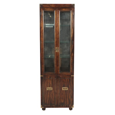 Lane Campaign-Style Display Cabinet, Mid to Late 20th Century