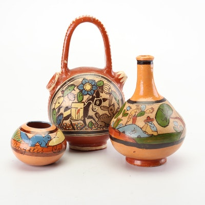 Hand-Painted Tlaquepaque Jalisco Mexican Earthenware, Early to Mid 20th Century
