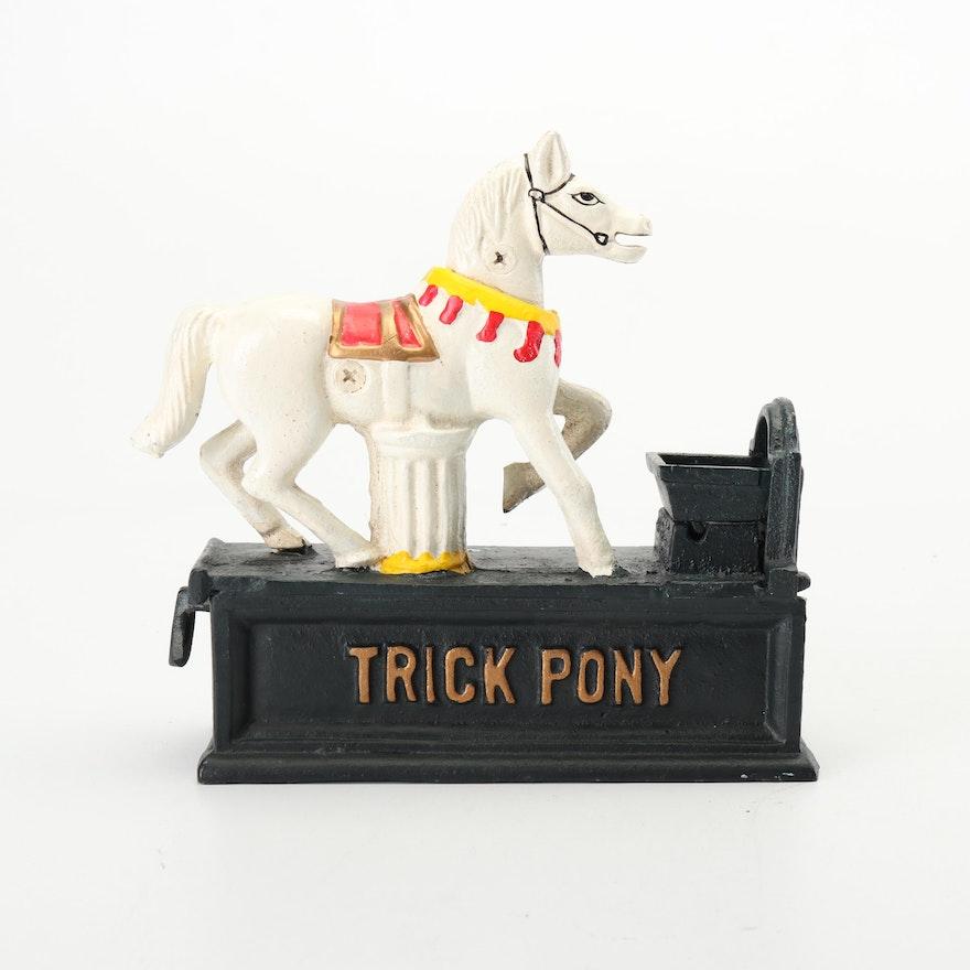 "Mid- Century Cast Metal ""Trick Pony"" Piggy Bank"