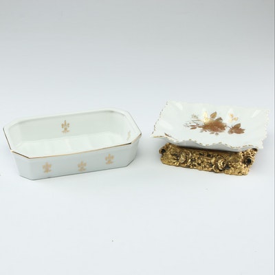 Porcelain Soap Dishes with Gilt Accents
