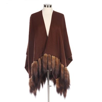 Cashmink V. Fraas Brown Knit Wrap with Mink Fur Tails