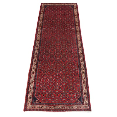 3'6 x 10'0 Hand-Knotted Persian Zanjan Carpet Runner, circa 1970
