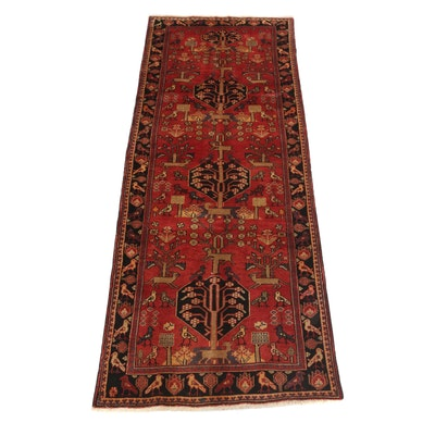3'7 x 9'9 Hand-Knotted Northwest Persian Pictorial Carpet Runner