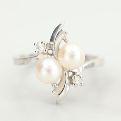 14K White Gold Cultured Pearl Diamond Ring