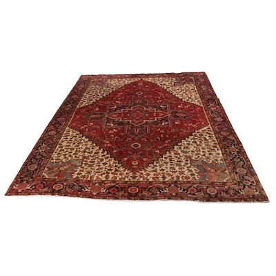 10'3 x 12'10 Hand-Knotted Persian Heriz Room Size Rug, circa 1950