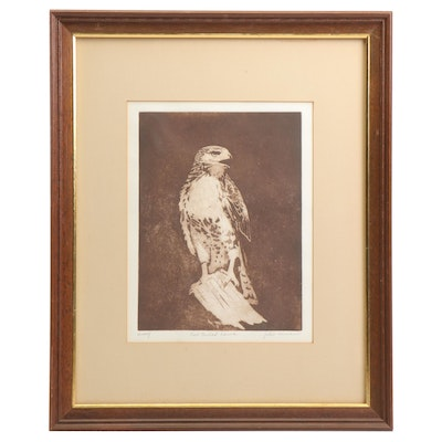 """Julie Inman Aquatint and Etching Print """"Red Tail Hawk"""""""