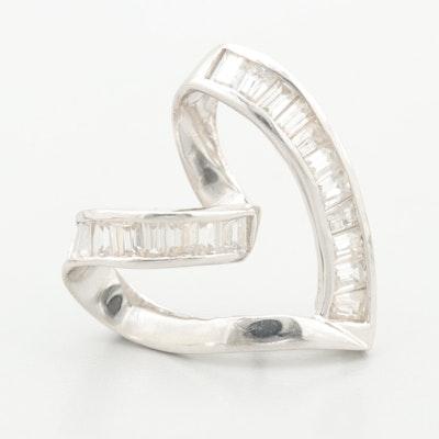 14K White Gold Cubic Zirconia Heart Shaped Slide Pendant