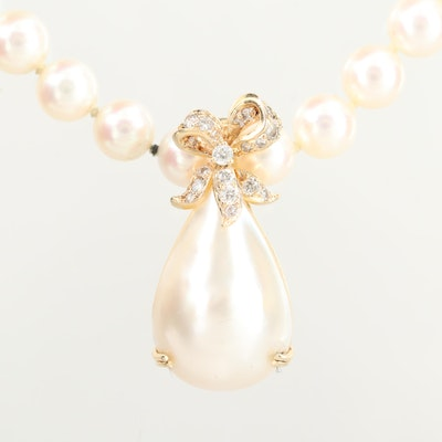 Vintage Mikimoto 14K Gold Cultured Pearl Necklace with Diamond Pearl Enhancer
